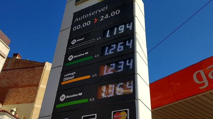 Цена на бензин в Испании